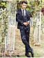 זול חליפות-נייבי כהה מעוטר גזרה מחוייטת פוליאסטר חליפה - פתוח Single Breasted One-button