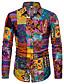 hesapli Erkek Gömlekleri-Erkek Keten Gömlek Desen, Geometrik / Galaksi Boho Parti Siyah / Uzun Kollu
