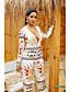 hesapli Kadın Tulumları-Kadın's Beyaz Sarı Tulumlar, Geometrik M L XL