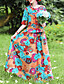 hesapli Print Dresses-Kadın's Zarif Çan Elbise - Çiçekli, Bağcık Kırk Yama Desen Maksi