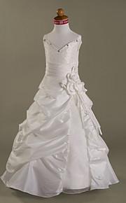 A-vonalú Földig érő Virágoslány ruha - Organza Ujjatlan Spagettipánt val vel Gyöngydíszítés által LAN TING BRIDE®