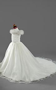 A-vonalú Udvari uszály Virágoslány ruha - Organza Szatén Rövid ujjú Aszimmetrikus val vel Gyöngydíszítés által LAN TING BRIDE®