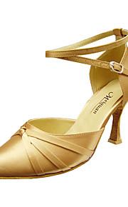 Women's Modern Ballroom Satin Heel Buckle Stiletto Heel Black Red Flesh Black Gold Non Customizable