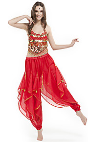 Belly Dance Outfits Women's Performance Chiffon Beading Coin Sleeveless Natural