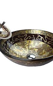 Moderno Tondo Materiale del dissipatore è Vetro temperato Lavandino bagno Rubinetto per bagno Anello di montaggio per bagno Scarico acqua