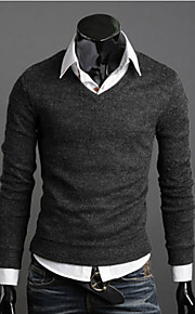 男性用 日常 / 週末 カジュアル ソリッド 長袖 スリム レギュラー プルオーバー, Vネック 秋 / 冬 イエロー / コーヒー / ワイン L / XL / XXL
