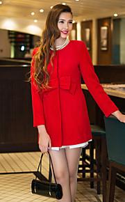 Damen-Solide Grundlegend Mantel Schleife