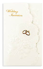 "Tri-Fold Wedding Invitations 50 - Invitation Cards Floral Style Pearl Paper 7 1/5""×5"" (18.4*12.8cm)"
