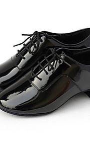 Men's Latin Shoes / Ballroom Shoes Leatherette Oxford Lace-up Low Heel Non Customizable Dance Shoes Black