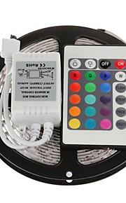 5 m RGB-Lysstriber Lyssæt Fleksible LED-lysstriber lysdioder Fjernbetjening Chippable Dæmpbar Selvklæbende Koblingsbar Jævnstrøm 12V DC
