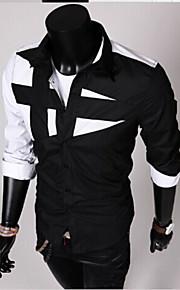 Erkek Pamuklu Forma Yaka İnce - Gömlek Kırk Yama, Zıt Renkli Siyah ve Beyaz Siyah XL / Uzun Kollu / Bahar / Sonbahar