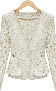 Women's Daily Work Casual Fall Blazer,Solid V Neck Long Sleeve Regular Lace Lace