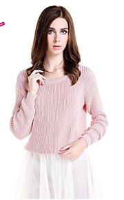 Women's Vintage Regular Pullover,Solid Pink Long Sleeve Acrylic Spring Fall Winter Medium Opaque Stretchy