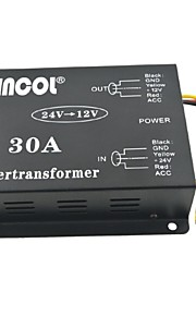 Xincol® Vehicle Car DC 24V to 12V 30A Power Supply Transformer Converter with Fan Regulation-Black