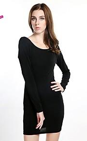 Women's Work Dress,Solid Above Knee Long Sleeve Black Spandex Spring / Summer / Fall