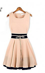 NUO WEI SI ® Women's Contrast Color Sleeveless Skater Dress