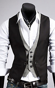 Men's Work Regular Vest, Solid Colored Sleeveless Cotton / Polyester Black / Brown L / XL / XXL / Business Formal / Slim