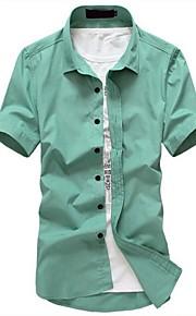 رجالي قميص قياس كبير لون سادة أزرق فاتح XL / كم قصير