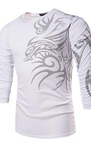 男性用 スポーツ / ワーク - プリント プラスサイズ Tシャツ ボヘミアン ラウンドネック スリム 幾何学模様 / 長袖