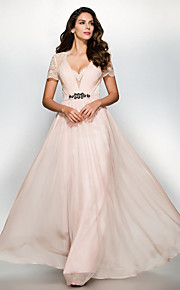A-Line Sweetheart Floor Length Chiffon Lace Prom / Formal Evening Dress with Lace by TS Couture®