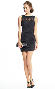 Sheath / Column Illusion Neckline Short / Mini Beaded Lace Jersey Cocktail Party Dress with Appliques Criss Cross by TS Couture®