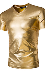 Men's Sports Basic / Exaggerated Cotton Slim T-shirt - Solid Colored Gold L / Short Sleeve