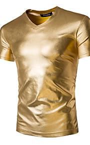 Tee-shirt Homme, Couleur Pleine - Coton Sports Basique / Exagéré Mince Dorée L / Manches Courtes