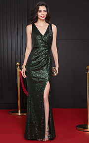 A sirena A V Strascico a terra Con strass Graduazione / Serata formale Vestito con Lustrini di TS Couture®