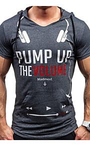 男性用 スポーツ - プリント Tシャツ 活発的 フード付き スリム レタード コットン / 半袖