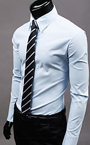Муж. Офис Классический Большие размеры - Рубашка Классический воротник Тонкие Деловые Однотонный Хаки XL / Длинный рукав / Весна / Осень