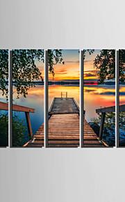 Landskap Klassisk, Fem paneler Duk Vertikal Tryck väggdekor Hem-dekoration