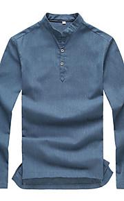 男性用 プラスサイズ Polo ソリッド リネン / 長袖