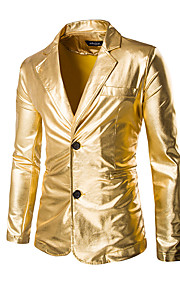Men's Party / Holiday / Club Sophisticated / Exaggerated Regular Blazer, Solid Colored Long Sleeve Cotton / Polyester Gold / Black / Silver XL / XXL / XXXL / Slim