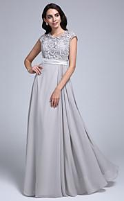 A tubino Con decorazione gioiello Lungo Chiffon Di pizzo Graduazione / Serata formale Vestito con Di pizzo di TS Couture®