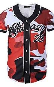 Ανδρικά T-shirt Αθλητικά / Δουλειά καμουφλάζ Στάμπα Κόκκινο XL / Κοντομάνικο