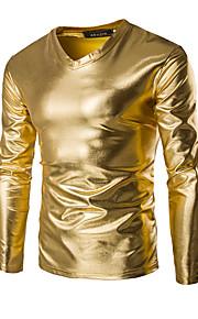 남성용 솔리드 V 넥 슬림 티셔츠, 베이직 / 펑크 & 고딕 스포츠 면 골드 XXXL / 긴 소매 / 봄 / 가을