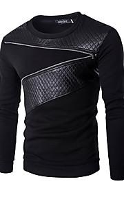 男性用 活発的 長袖 スウェットシャツ - カラーブロック, パッチワーク ラウンドネック