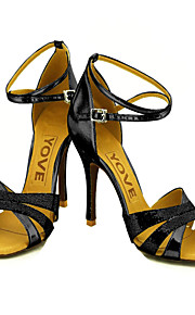 Women's Latin Ballroom Sparkling Glitter Sandal Sparkling Glitter Buckle Red Pink Silver Blue Gold Customizable