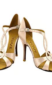 Women's Latin Salsa Ballroom Satin Sandal Buckle Pink Bronze Almond Nude Royal Blue Customizable