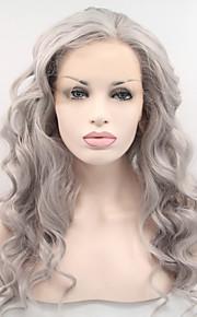 Syntetisk blonder foran parykker Bølget Side del Naturlig hårlinje Grå Dame Blonde Forside Karneval Parykk Halloween parykk Naturlig
