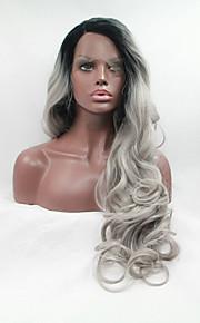 Syntetisk blonder foran parykker Bølget Midtskill Naturlig hårlinje Mørke røtter Ombre-hår Svart Dame Blonde Forside Naturlig parykk Lang