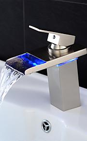Wastafel kraan - Waterherfst LED Nikkel Geborsteld Middenset Single Handle Een Hole