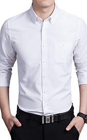 Муж. Офис Большие размеры - Рубашка Хлопок Тонкие Деловые Однотонный Розовый XXXL / Длинный рукав / Осень