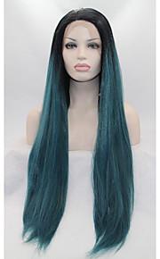 Syntetisk blonder foran parykker Rett Grønn Dame Blonde Forside Naturlig parykk Syntetisk hår