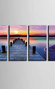 Stretchad Kanvastryck Landskap Fyra paneler Vertikal Tryck väggdekor Hem-dekoration