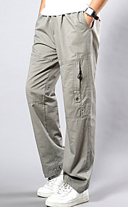 Men's Chinoiserie Plus Size Cotton Loose / Sweatpants / Cargo Pants - Solid Colored Yellow / Spring / Fall / Weekend