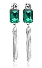 Damen Strass versilbert - Silber Grün Ohrringe Für Hochzeit Party