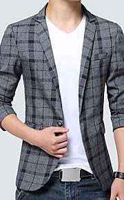 Men's Business Vintage Plus Size Slim Blazer - Plaid
