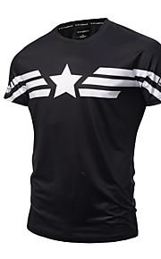 Hombre Activo / Punk & Gótico Deportes Estampado - Algodón Camiseta, Escote Redondo Delgado Geométrico Negro XL / Manga Corta / Verano