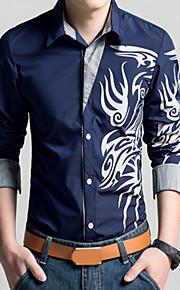 Tynn Klassisk krage Store størrelser Skjorte Herre - Geometrisk, Trykt mønster Vintage Rød XXL / Langermet / Vår / Høst